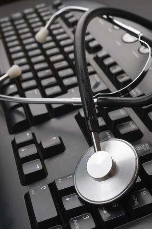 close up of a stethoscope and a computer keyboard Stock Photo - 10387696