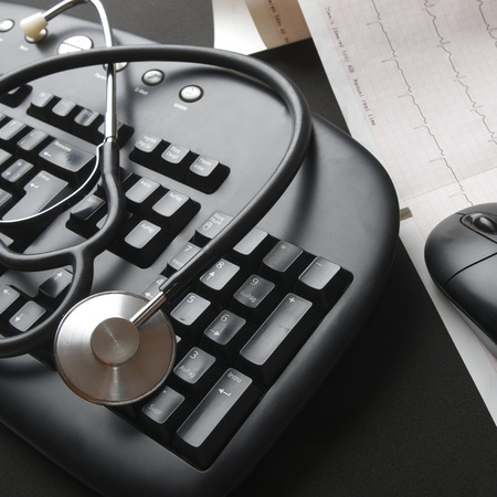 close up of a stethoscope and a computer keyboard Stock Photo - 10387686