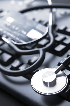 close up of a stethoscope and a computer keyboard Stock Photo - 10387685