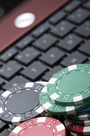 view of casino chips to gamble and play online photo