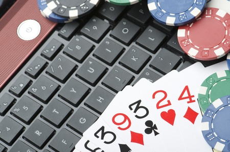 view of casino chips and cards to gamble and play online Stock Photo - 10506351