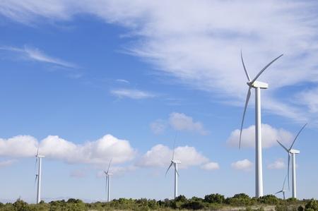 zaragoza: group of  windmills for renewable electric  energy production in Fuendetodos, Zaragoza, Aragon, Spain