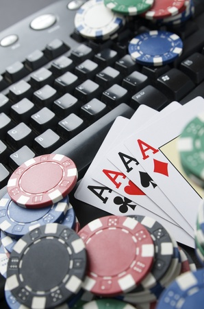 view of casino chips and cards to gamble and play online Stock Photo - 10558165