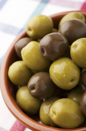 forefront of a typical Spanish green olives Stock Photo