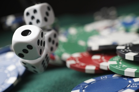 crap: roll of the dice on a game table in a casino Stock Photo