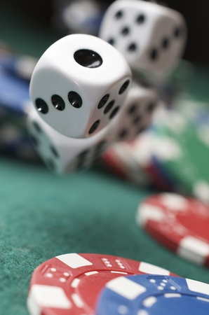 roll of the dice on a game table in a casino Stock Photo - 10645117