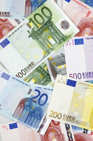 one hundred euro banknote: view of group of  European banknotes