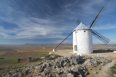 castilla la mancha: traditional windmill in Consuegra, Toledo, Castilla La Mancha, Spain Stock Photo