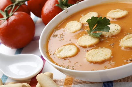 closeup of a  plate of gazpacho on a checkered tablecloth Stock Photo - 10671120