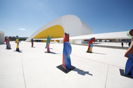 aviles: Aviles, Spain,  August 10, 2011: sculptures in Niemeyer Center. Designed by Oscar Niemeyer, this Center offers a  multidisciplinary program dedicated to the most diverse art and cultural events. Editorial