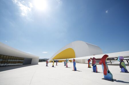 Aviles, Spain,  August 10, 2011: sculptures in Niemeyer Center. Designed by Oscar Niemeyer, this Center offers a  multidisciplinary program dedicated to the most diverse art and cultural events. Stock Photo - 10738432