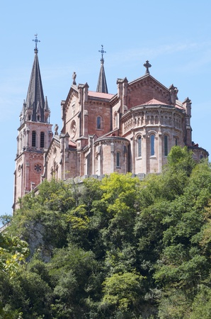covadonga: view of the Church of Covadonga, Asturias, Spain Stock Photo