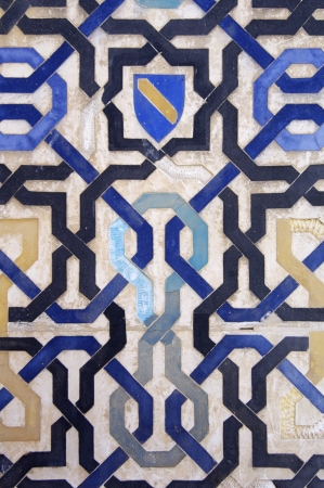 closeup of a ceramic tile in the Alhambra Palace, Granada, Andalusia, Spain