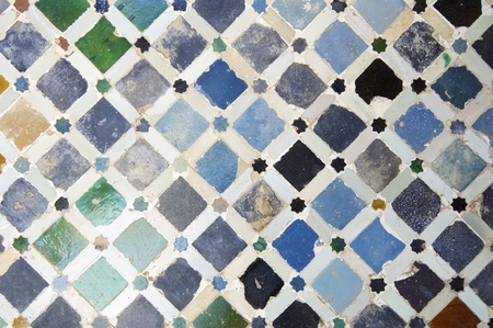 spanish tile: closeup of a ceramic tile in the Alhambra Palace, Granada, Andalusia, Spain