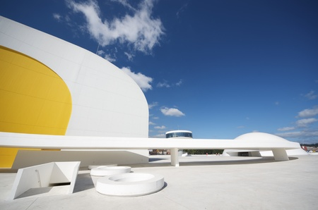 Aviles, Spain,  August 10, 2011: designed by Oscar Niemeyer, the Niemeyer Center offers a  multidisciplinary program dedicated to the most diverse art and cultural events. Stock Photo