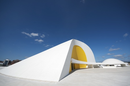 Aviles, Spain - August 10, 2011: designed by Oscar Niemeyer, the Niemeyer Center offers a  multidisciplinary program dedicated to the most diverse art and cultural events.