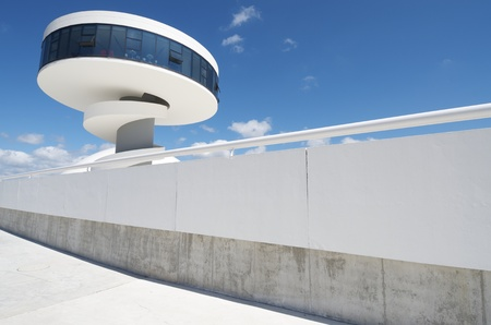 Aviles, Spain,  August 10, 2011: building known as Coctelera in the Niemeyer Center. Designed by Oscar Niemeyer, the Niemeyer Center offers a  multidisciplinary program dedicated to the most diverse art and cultural events.