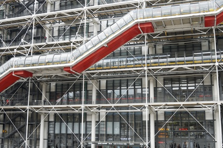georges: Paris, France - October 10, 2011: exterior  view of the famous Pompidou Center during the celebration of the centenary of the French politician Georges Pompidou. This museum is dedicated to the exhibition of  modern art.