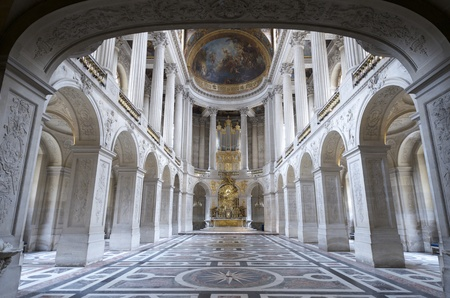 castle interior: inside view of the Royal Chapelle of Versailles Palace, France Editorial
