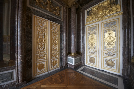 castle interior: entrances to the hall of Venus in the palace of Versailles, France