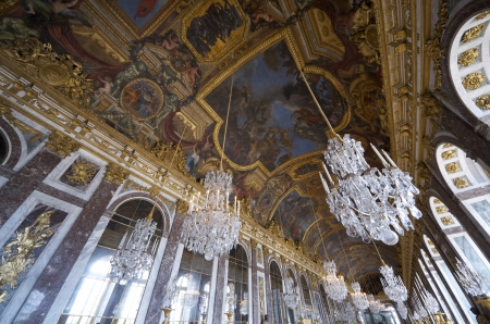 view of the hall of mirrors in the palace of Versailles, France