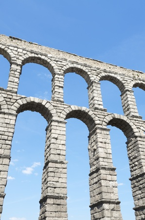 castilla: view of the aqueduct of Segovia, Castilla Leon, Spain Stock Photo