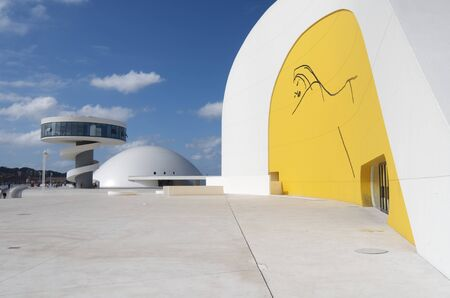 oscar niemeyer: Aviles, Spain,  August 10, 2011: designed by Oscar Niemeyer, the Niemeyer Center offers a  multidisciplinary program dedicated to the most diverse art and cultural events. Editorial