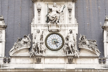 plaster of paris: forefront of  the facade of the Town Hall of Paris, France Stock Photo