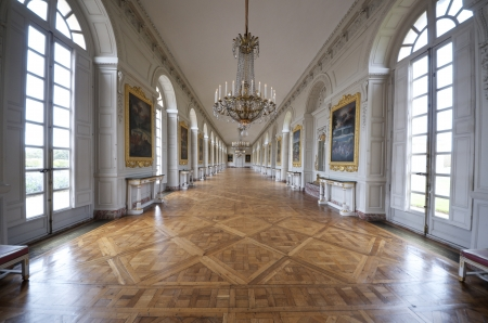 castle interior: Room at the Grand Trianon in Palace  Versailles, France. The Grand Trianon was a private place for the king. Editorial