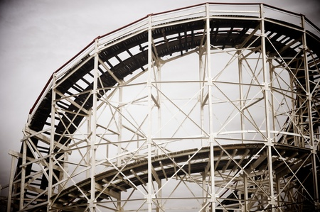 roller coaster: Cyclone Roller-coaster in the Coney Island Astroland Amusement Park, Usa