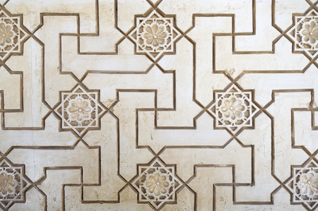 moorish: closeup of a plaster wall in the Alhambra Palace, Granada, Andalusia, Spain Editorial