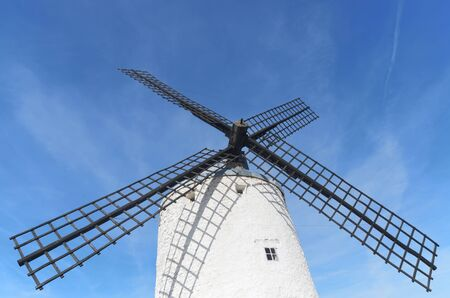 castilla la mancha: forefront of  the blades of a traditional windmill in Consuegra, Toledo, Castilla La Mancha, spain Stock Photo