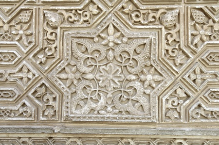 alhambra: closeup of a plaster wall in the Alhambra Palace, Granada, Andalusia, Spain Editorial