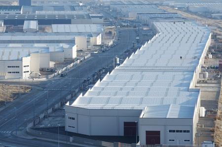 edificio industrial: vista elevada de la zona industrial de Centrovía, La Muela, Zaragoza provincia, Aragón, España Foto de archivo
