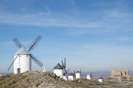 castilla la mancha: traditional windmills and castle in Consuegra, Toledo, Castilla La Mancha, Spain