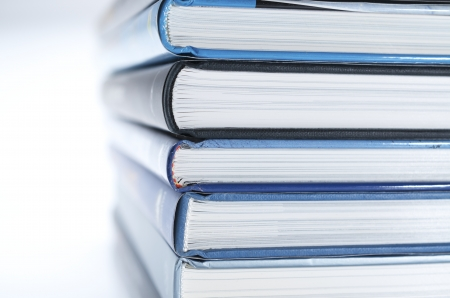 bibliography: forefront of a group of books stacked Stock Photo
