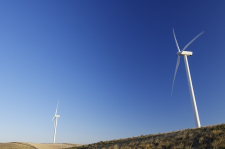 modern windmills for electricity production and grassland photo