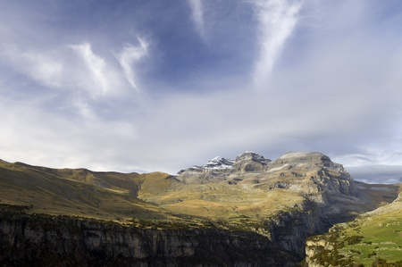 anisclo: View of the massif of Monte Perdido and Anisclo Valley in Ordesa National Park; Huesca, Aragon, Spain