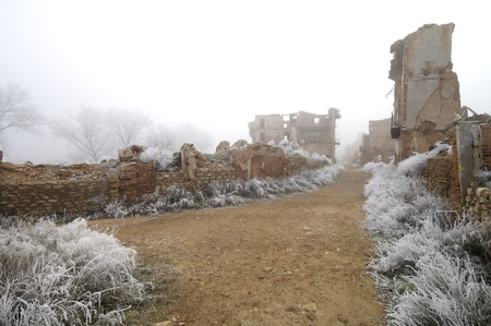 bombing: Belchite village destroyed in a bombing during the Spanish Civil War, Zaragoza, Aragon, Spain Stock Photo