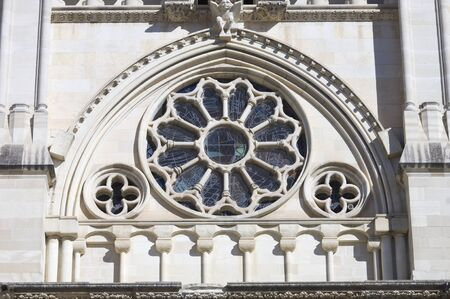 forefront: forefront of the facade of the cathedral of Cuenca, Castile-La Mancha, Spain Stock Photo
