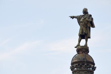 クリストファー コロンブス像バルセロナ、カタルーニャ、スペインの発見者