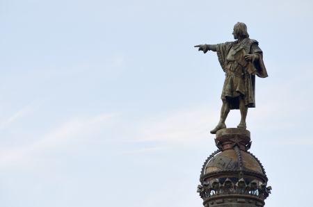 columbus: discoverer Christopher Columbus statue in Barcelona, Catalonia, Spain Stock Photo
