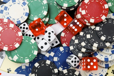 background  consists of casino chips and dice  game Stock Photo - 11721728
