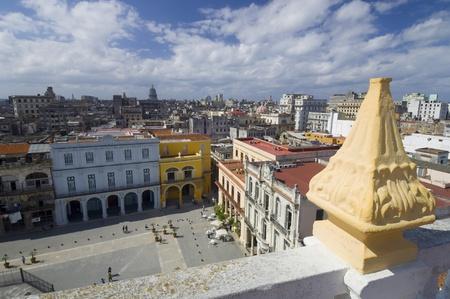 elevated view of Plaza Vieja in Havana, Cuba photo
