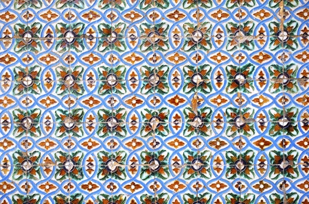 andalucia: closeup of a ceramic tile in Pilates palace, Seville, Andalucia, Spain