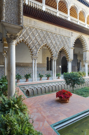 courtyard: courtyard in  the Reales Alcazares, Seville,  Andalucia, Spain Stock Photo