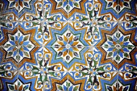 sevilla: close-up van een keramische tegel in Pilatus paleis, Sevilla, Andalusie, Spanje