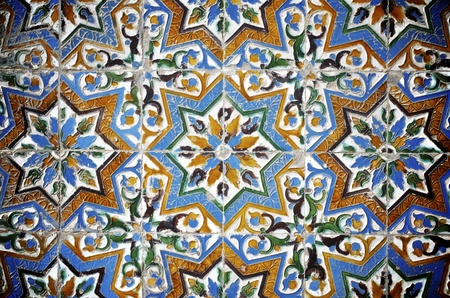 closeup of a ceramic tile in Pilates palace, Seville, Andalucia, Spain