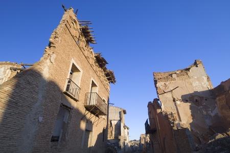 Belchite village destroyed in a bombing during the Spanish Civil War, Saragossa, Aragon, Spain Stock Photo - 12001980