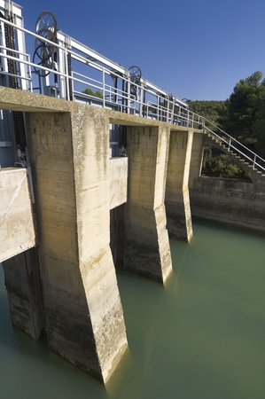 sluice: gate in an irrigation canal